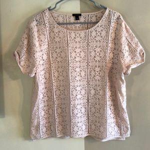 Ann Taylor lace blush pink extra large XL shirt